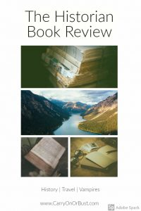 review of the historian by elizabeth kostova mountains and old books with text saying vampires, history, and travel
